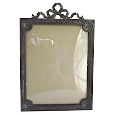 French Metal Easel Backed Photo Frame Convex Glass Bow Ribbon Garland