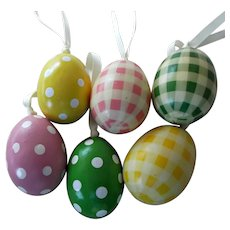 Six Vintage Hand Painted and Decoupage Easter Eggs