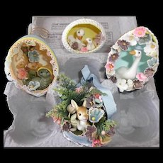 Four Vintage Half Easter Egg Dioramas Inch Worm Ducks Rabbit Goose