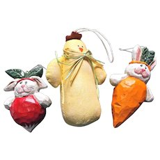 Set of Three Vintage Easter Decorations Bunny Rabbits Yellow Chick