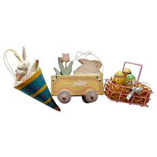 Three Vintage Easter Decorations Bunny Rabbits Wagon Wood Eggs in Basket