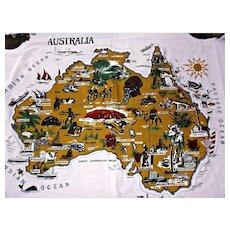 Vintage Australia Map Table Cloth Polyester Cotton Rectangle