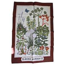 Irish Linen Towel Herb Garden Butterfly Hand Towel