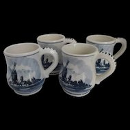 Vintage Delfts Blauw Hand Painted Mugs Norelco 1971 Set of Four