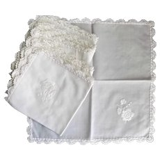 Six Vintage Square Linen Napkins Hand Embroidered Rose Crochet Lace Edge White on White