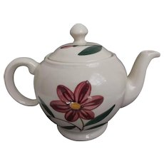 Vintage Shawnee U.S.A. Tea Pot with Pink Flower Green Leaves