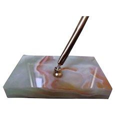 Variegated Vintage Marble Slab Paperweight Ink Pen Holder with Pen Desk Accessorie