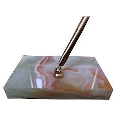 Variegated Vintage Marble Slab Paperweight Ink Pen Holder with Pen Desk Accessorie