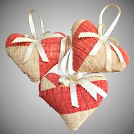 Three Vintage Heart Shaped Patchwork Sachets with Ribbons