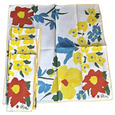 Vera Bradley Set of Four Napkins Vintage Florals Red Yellow Blue Green White