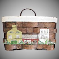 Hand Painted Vintage Basket with Handle for Hanging Country Store Antique Shop