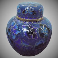Small Asian Vintage Cloisonne' Ginger Jar Cobalt Blue Gold Flowers