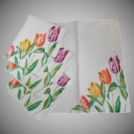 Four Vintage Linen Napkins with Colorful Printed Tulips
