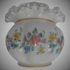 Hand Painted Ruffled Crimped Cased Glass Vase Silver Crest Flowers