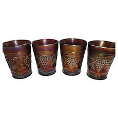 Northwood Grape and Cable with Thumbprints Carnival Glass Tumblers