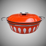 Catherine Holm Norway Vintage Orange Lotus Enamelware Pan Lid Handles