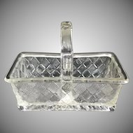Old Divided Basket shaped Glass Salt Cellar or Open Salt Pepper