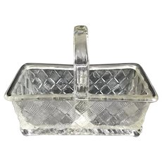 Old Divided Basket shaped Glass Salt Cellar or Open Salt Pepper