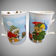 Playtime Teddy Pair of Mugs Roy Kirkham Design Bone China England