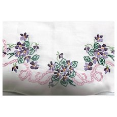 White Linen Table Dresser Runner with Hand Embroidered Violets Vintage