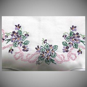 White Linen Table Dresser Runner with Hand Embroidered Violets Vintage
