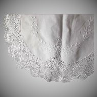 White Vintage Cotton Linen Runner Table Dresser Embroidery Lace Crochet