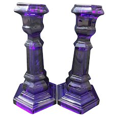 Imperial Glass Vintage Pair Sapphire Blue Candlesticks marked MMA circa 1970's