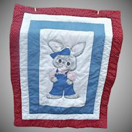 Vintage Homemade Quilt Coverlet Appliqued Bunny Rabbit in Blue Coveralls Hat