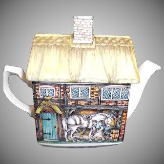 The Old Forge Tea Pot by Wellington China England Blacksmith Horse