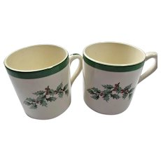 Spode Christmas Tree Vintage Holly Demitasse or Espresso Flat Bottom Cups Mugs