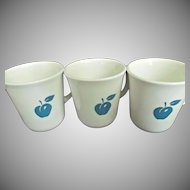 Corning Glass Three White Mugs with Blue Apples and Cherries