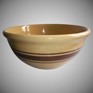 Old Yellowware Ten Inch Mixing Bowl Brown Stripes