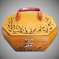 Homemade Vintage Wood Burned Box Purse Pyrography
