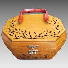 Homemade Vintage Wood Burned Box Purse Pyrography