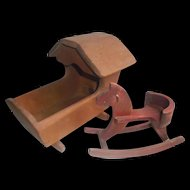Vintage 1983 Handcrafted New England Pine Cradle with Rocking Horse Small Dolls