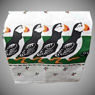 Vintage 1986 Penguins Marching Christmas Hand Towel National Wildlife Federation