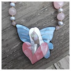 Vintage Lee Sands Angel Shell Inlay Necklace with Pink Stones Simulated Pearls