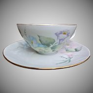 China Blank Vintage Cup and Saucer Hand Painted Morning Glories Signed by Artist