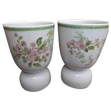 Pair of Egg Cups Vintage C. H. Field Haviland Limoges Pink Flowers