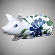 Dansk Porcelain Pig Figurine Blue Florals with Greenery on White