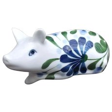 Dansk Porcelain Pig Figurine Blue Florals with Greenery on White