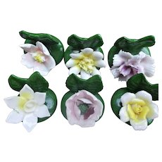 Enesco Vintage China Flower Place Card Holders Six