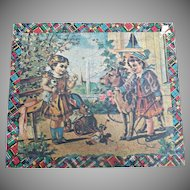 Antique Child's Lithograph Puzzle Blocks in Wood Box