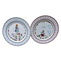 Heinrich Germany Vintage Pierrot Plates Pink Blue Porcelain