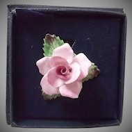 Vintage Aynsley Pink Floral China Pin Brooch Hand Painted