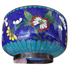 Asian Cloisonne' Brass Enamel Small Bowl Cobalt Turquoise
