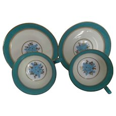 Wedgwood Vintage Bone China Cups and Saucers Pair Turquoise Fruit
