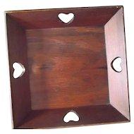 Vintage Folk Art Wood Napkin Holder Apple Tray with Cut Out Hearts Sweden