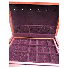 Mahogany Wood Velvet Lined Jewel Box Vintage Eureka Mfg. Co. Reed and Barton