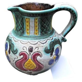 Gmundner Keramik Austria Vintage Tulip Patterned Pottery Pitcher